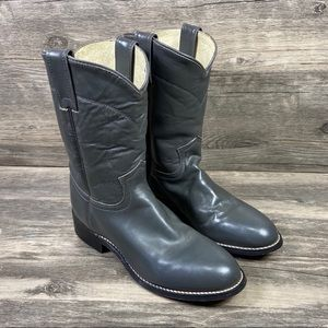 Justin Roper Gray Charcoal Cowboy Western Boots